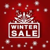 Etiqueta de papel - venta del invierno, fondo rojo - oferta de la Navidad ilustración del vector