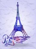 Etiqueta de París con la torre Eiffel dibujada mano con el terraplén de la acuarela, poniendo letras a París Fotografía de archivo libre de regalías