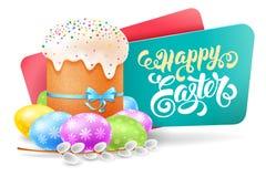 Etiqueta de Pascua con la torta de Pascua ilustración del vector