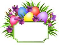 Etiqueta de Pascua con las violetas ilustración del vector
