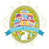 Etiqueta de Pascua con los huevos, el conejo y las flores del color Tarjeta de felicitaciones de Pascua del día de fiesta Imprima ilustración del vector