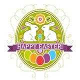 Etiqueta de Pascua con los huevos, el conejo y las flores del color Tarjeta de felicitaciones de Pascua del d?a de fiesta Imprima ilustración del vector