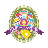Etiqueta de Pascua con los huevos, el pollo y las flores del color Tarjeta de felicitaciones de Pascua del día de fiesta Imprima  libre illustration