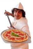 Etiqueta de plástico de la pizza Fotos de archivo libres de regalías