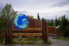 Etiqueta de plástico del Círculo Polar Ártico Fotografía de archivo libre de regalías
