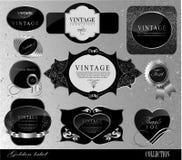 Etiqueta de prata preta retro Imagens de Stock