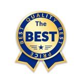 Etiqueta de preço da concessão da fita a melhor Fundo branco isolado ícone da concessão da fita do ouro Projeto dourado da melhor ilustração stock