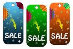 Etiqueta de tres ventas Imagen de archivo