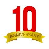 etiqueta de uma celebração de 10 anos Foto de Stock Royalty Free
