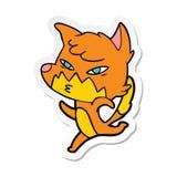 etiqueta de uma raposa inteligente dos desenhos animados ilustração royalty free