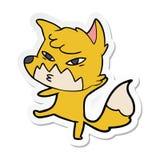 etiqueta de uma raposa inteligente dos desenhos animados ilustração do vetor