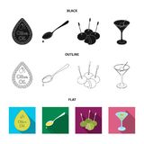 Etiqueta del aceite de oliva, cuchara con un descenso, aceitunas en los palillos, un vidrio de alcohol Las aceitunas fijaron icon stock de ilustración