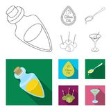 Etiqueta del aceite de oliva, cuchara con un descenso, aceitunas en los palillos, un vidrio de alcohol Las aceitunas fijaron icon ilustración del vector