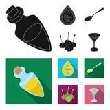 Etiqueta del aceite de oliva, cuchara con un descenso, aceitunas en los palillos, un vidrio de alcohol Las aceitunas fijaron icon libre illustration