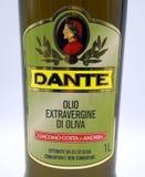 Etiqueta del aceite de oliva de Dante fotos de archivo libres de regalías