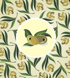 Etiqueta del aceite de oliva Vector la plantilla para el aceite de oliva, diseño del ejemplo del vector Imagen de archivo libre de regalías