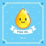 Etiqueta del aceite de pescado Fotografía de archivo libre de regalías