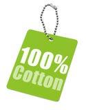 Etiqueta del algodón del ciento por ciento Imágenes de archivo libres de regalías
