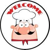 Etiqueta del círculo de Man Face Cartoon del cocinero Foto de archivo