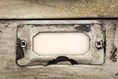 Etiqueta del cajón del cabinete de archivo del vintage Foto de archivo libre de regalías