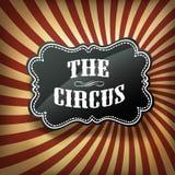 Etiqueta del circo en los rayos retros fondo, vector Imágenes de archivo libres de regalías