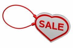 Etiqueta del corazón con venta de la palabra Imagenes de archivo