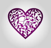 Etiqueta del corazón del corte del laser ilustración del vector