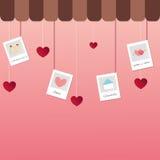 Etiqueta del corazón del día de tarjetas del día de San Valentín Foto de archivo