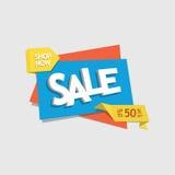 Etiqueta del descuento de la venta de la oferta con la tienda de la lectura del texto ahora - vector eps8 Fotos de archivo libres de regalías