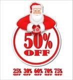 Etiqueta del descuento de Santa Claus Imagen de archivo libre de regalías