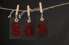 etiqueta del descuento del 50 por ciento Fotografía de archivo libre de regalías