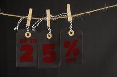 etiqueta del descuento del 25 por ciento Imagen de archivo libre de regalías