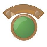 Etiqueta del diseño, bandera o botón de madera moderna del sitio web Foto de archivo