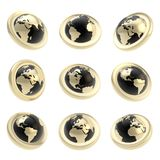 Etiqueta del emblema del globo de la tierra en nueve que escuerzan stock de ilustración