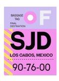 Etiqueta del equipaje del aeropuerto de Los Cabos ilustración del vector