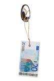 Etiqueta del euro 20 en el gancho de leva Foto de archivo