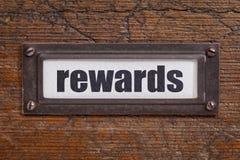 Etiqueta del gabinete de fichero de las recompensas Fotografía de archivo