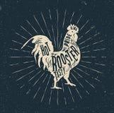 Etiqueta del gallo El vintage diseñó el ejemplo del vector Fotografía de archivo