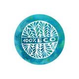 Etiqueta del garabato de la acuarela del vector para el producto orgánico natural Etiqueta engomada o emblema dibujada mano de la Imagenes de archivo
