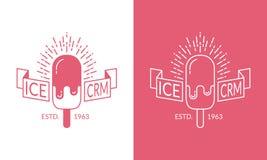 Etiqueta del helado del vector, insignia Imágenes de archivo libres de regalías