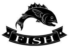 Etiqueta del menú de los pescados Imagen de archivo