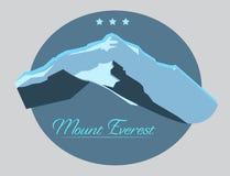 Etiqueta del monte Everest con el tipo diseño en estilo del vintage Fotografía de archivo libre de regalías