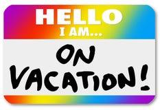 Etiqueta del nombre hola estoy en Nametag de la etiqueta engomada de las vacaciones Fotografía de archivo