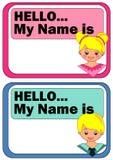 Etiqueta del nombre para los niños Imagen de archivo