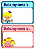 Etiqueta del nombre para los niños Imagen de archivo libre de regalías