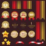 Etiqueta del oro para el actual mejor del producto Fotografía de archivo