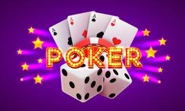 Etiqueta del póker, fondo del letrero de la bandera del casino Fotografía de archivo