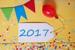 Etiqueta del partido, confeti, globo, texto 2017 Fotografía de archivo libre de regalías