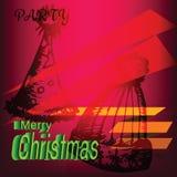 Etiqueta del partido del sombrero de la Feliz Navidad Imagenes de archivo