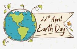 Etiqueta del planeta para el Día de la Tierra en el estilo del garabato, ejemplo del vector Imagen de archivo libre de regalías